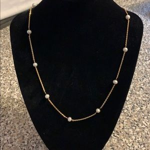 22KT Solid Gold Necklace With Genuine Pearls